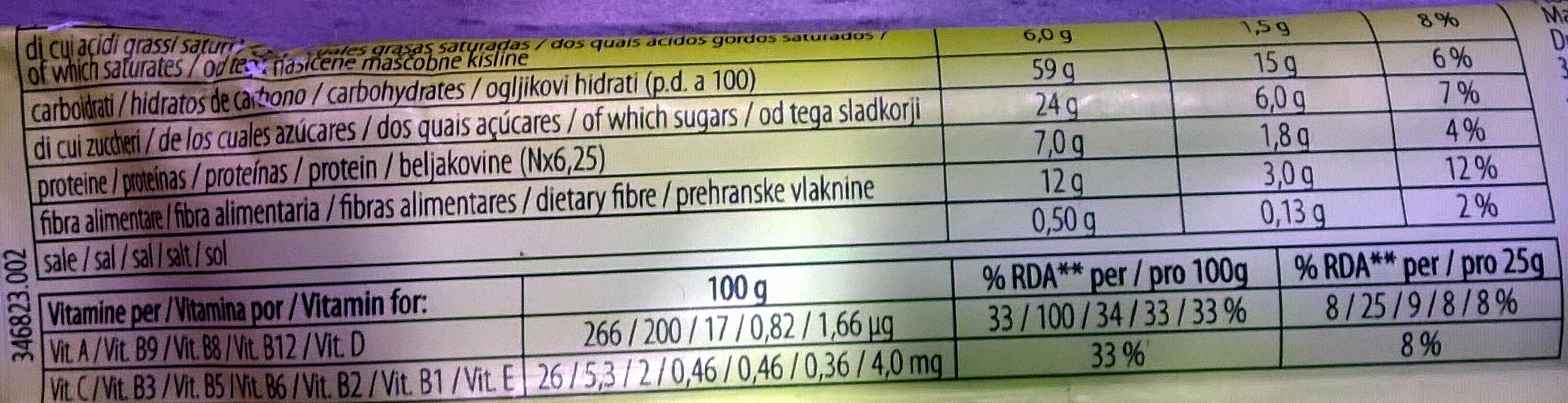Cereal bar - Voedingswaarden - es