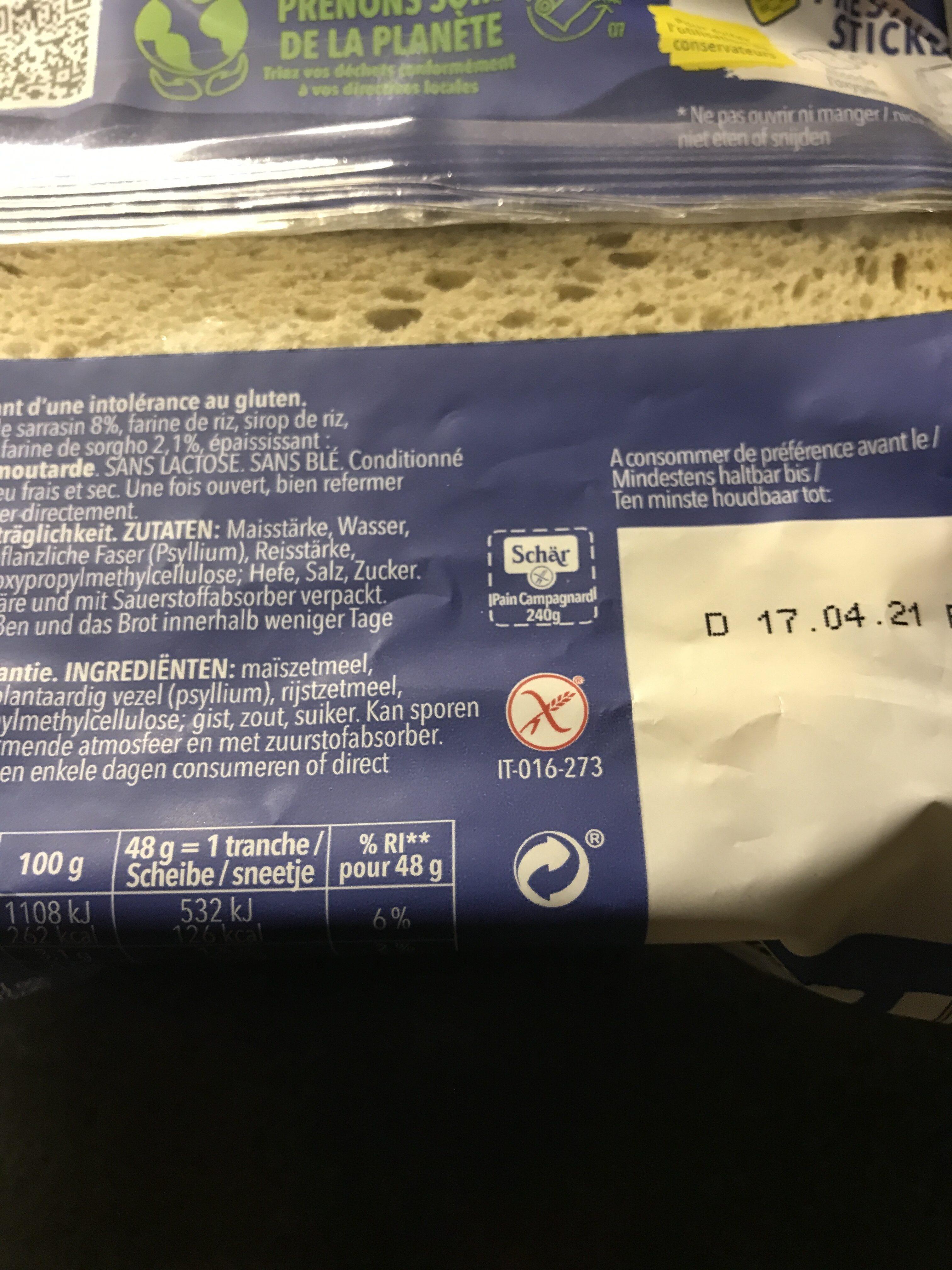 Pain campagnard avec du sarrasin et de levain - Recycling instructions and/or packaging information - en
