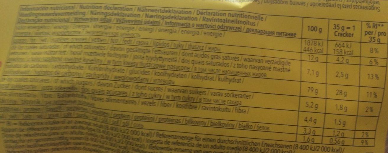 Crackers sin gluten - Nutrition facts