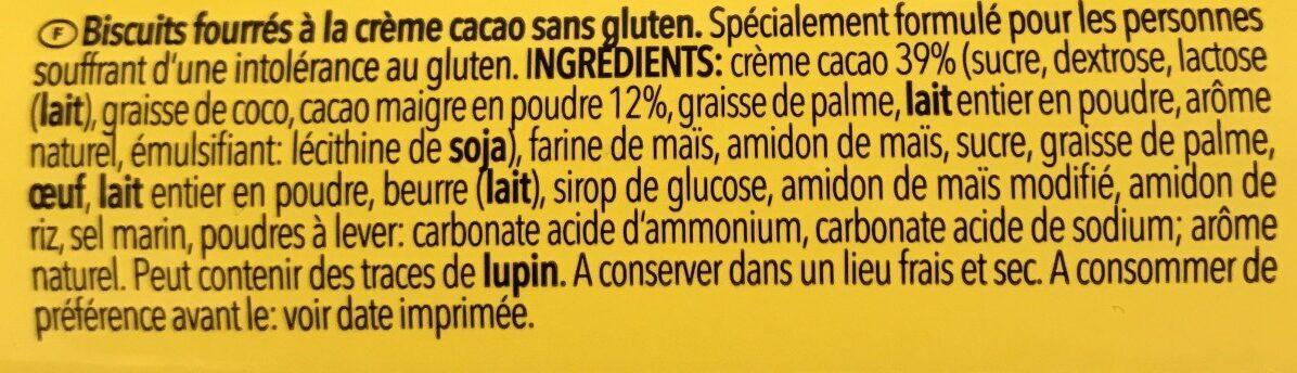 Gouter creme cacao sans gluten - Ingredienser - fr