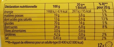 Gouter creme cacao sans gluten - Ernæringsfakta - fr