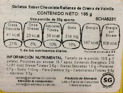 Disco ciok galletas al cacao con crema de leche sin gluten - Información nutricional - es