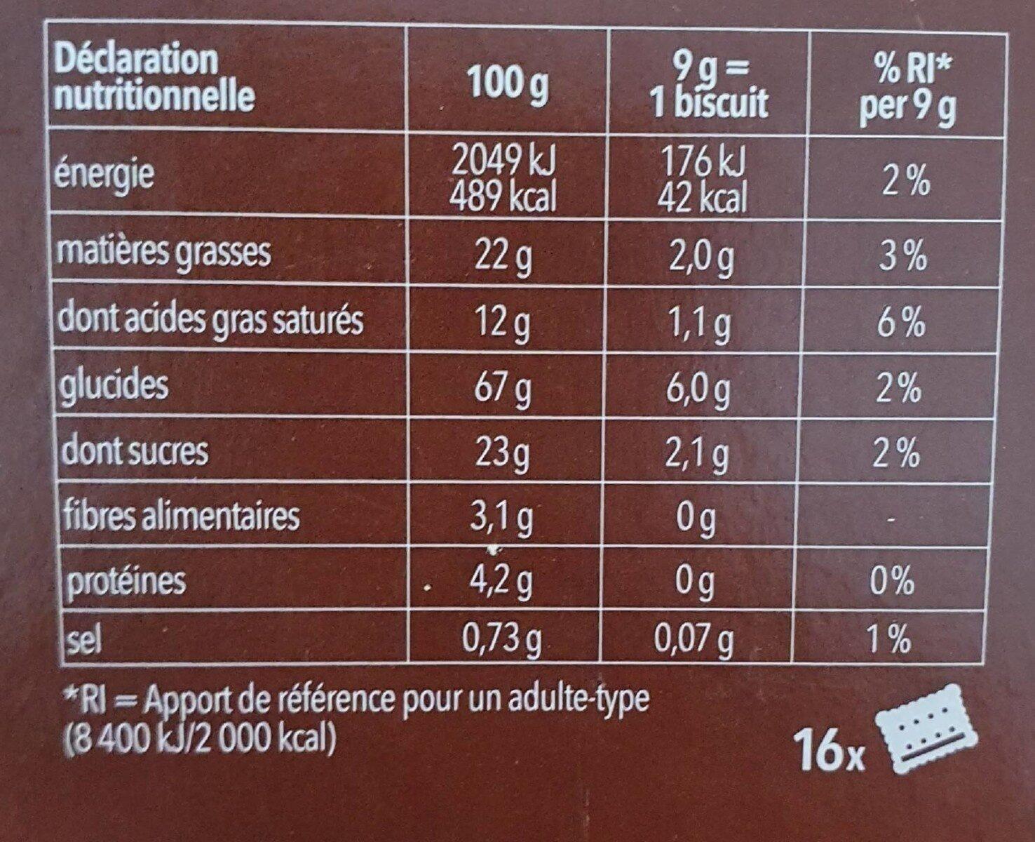 Chocolate Shorts sans gluten - Informazioni nutrizionali - fr