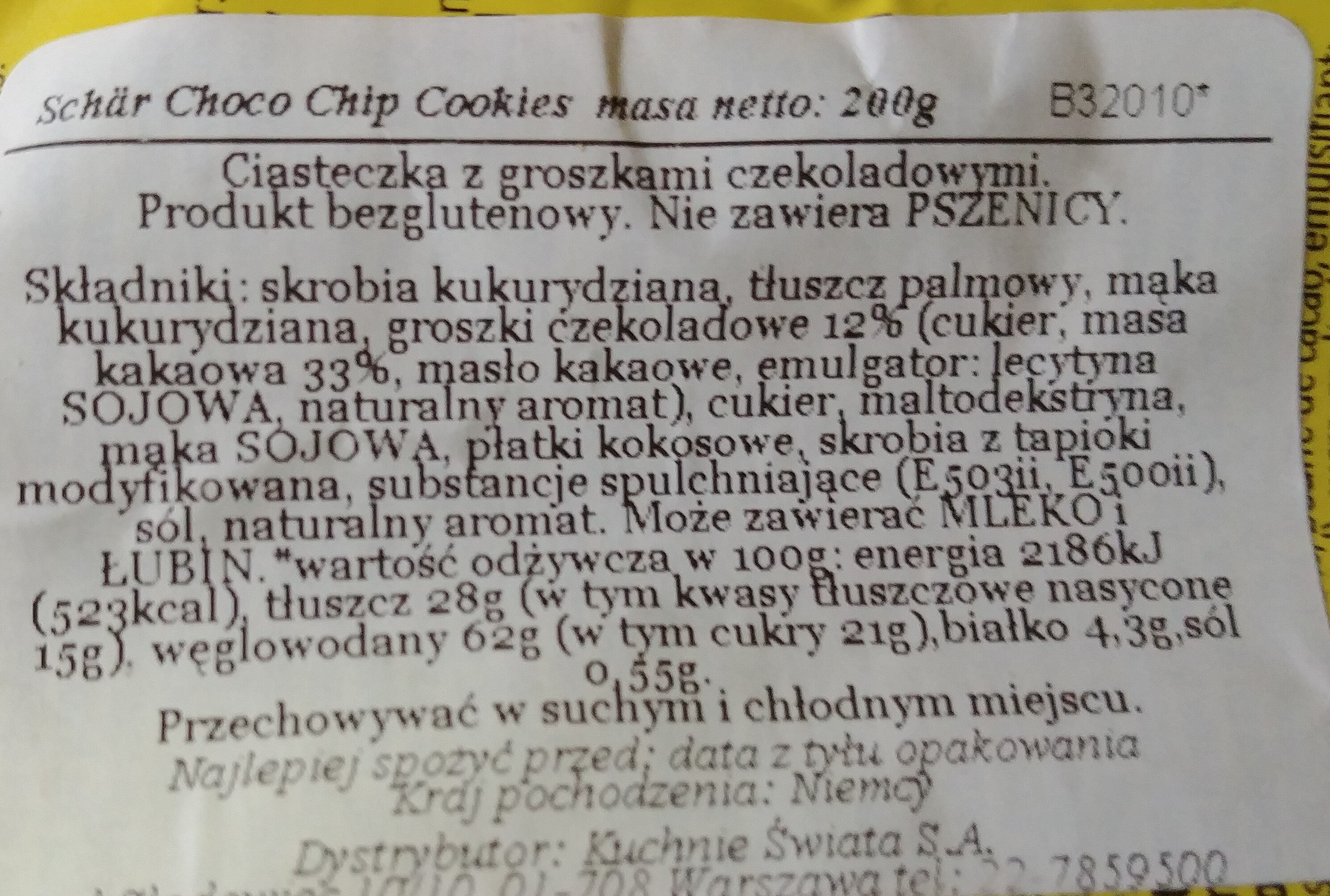 Gluten free chocolade chip cookies - Składniki - pl
