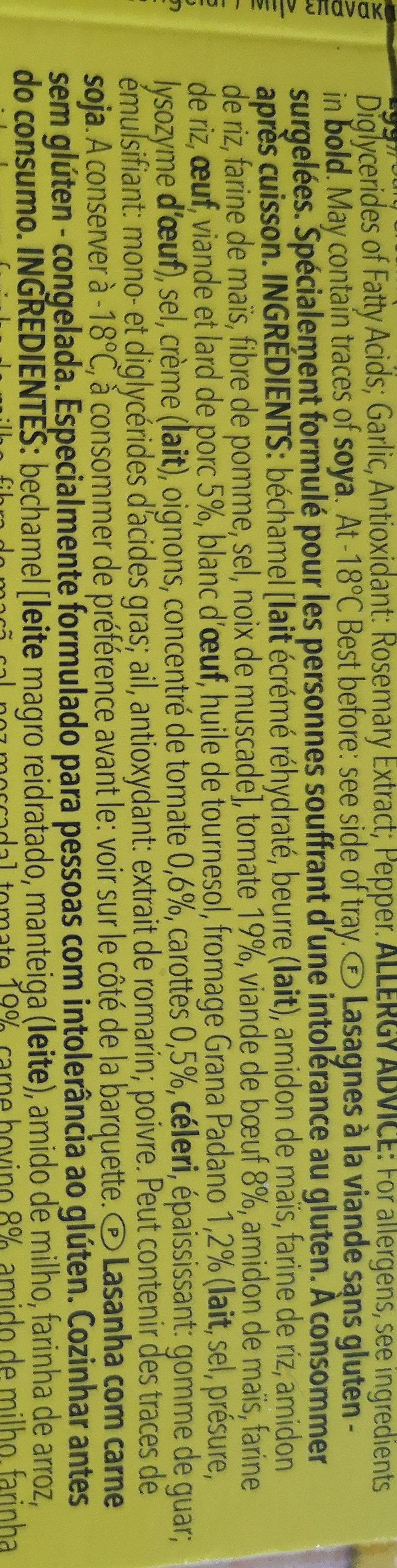 Shar Bonta d' Italia Gluten Free Lasagne - Ingrédients - fr