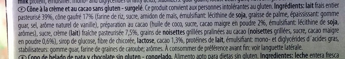 Gran Cono Panna & Cacao with fresh milk - Ingrédients