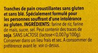 Tartine Croustillante Sans Gluten - Ingredients - fr
