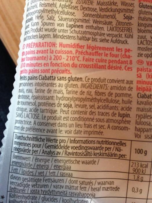 Ciabatta gluten free - Zutaten
