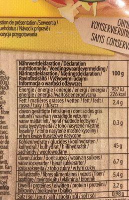 Gluten Free Hamburger 4 x (300g) - Informations nutritionnelles - fr