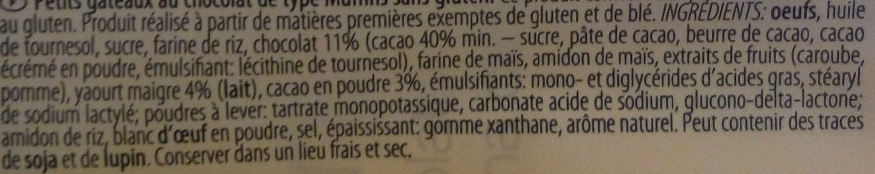 Muffins choco - Ingrédients - fr