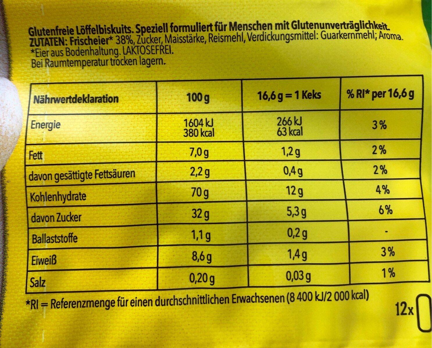 Savoiardi - Informations nutritionnelles - it