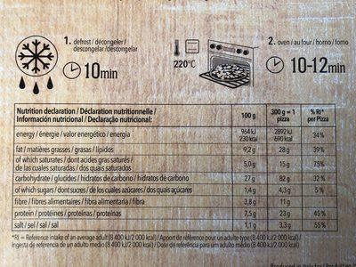 Pizza Margherita sans gluten - Voedingswaarden - fr