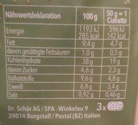 Ciabatta Rustica (Gluten frei) - Voedingswaarden - de