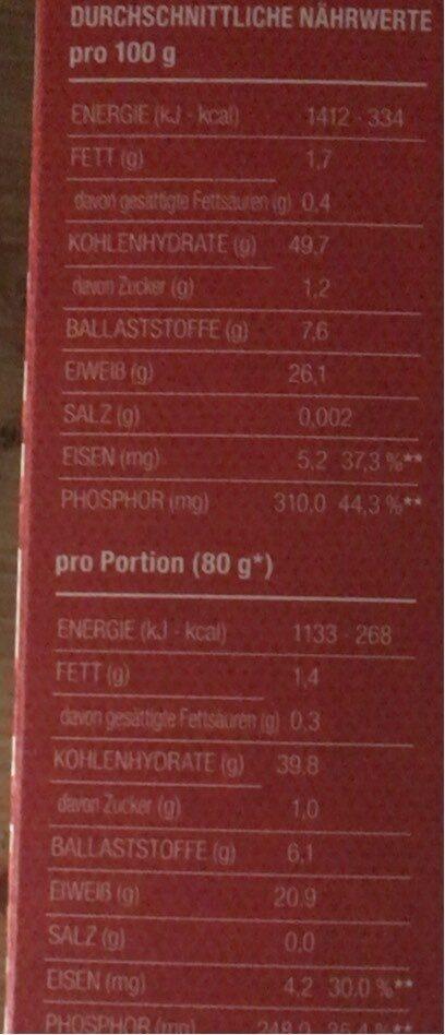 Rote linsen pasta - Informations nutritionnelles - de