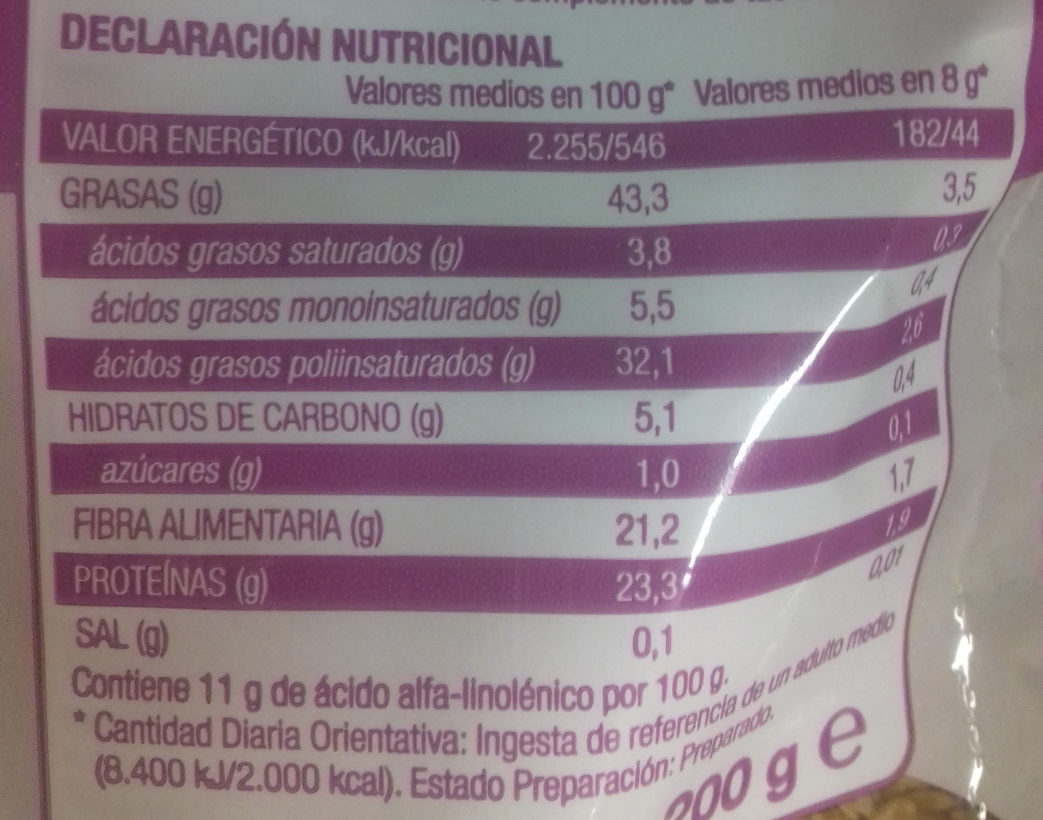 Semillas de lino dorado - Nutrition facts