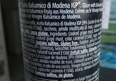 Crema de aceto balsámico de módena - Ingredients