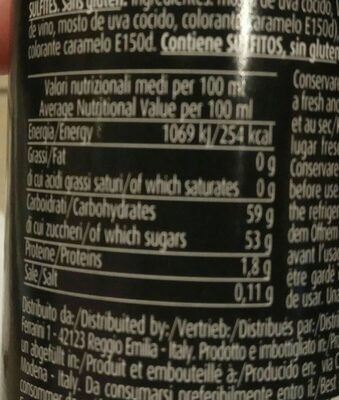Crema de aceto balsámico de módena - Nutrition facts