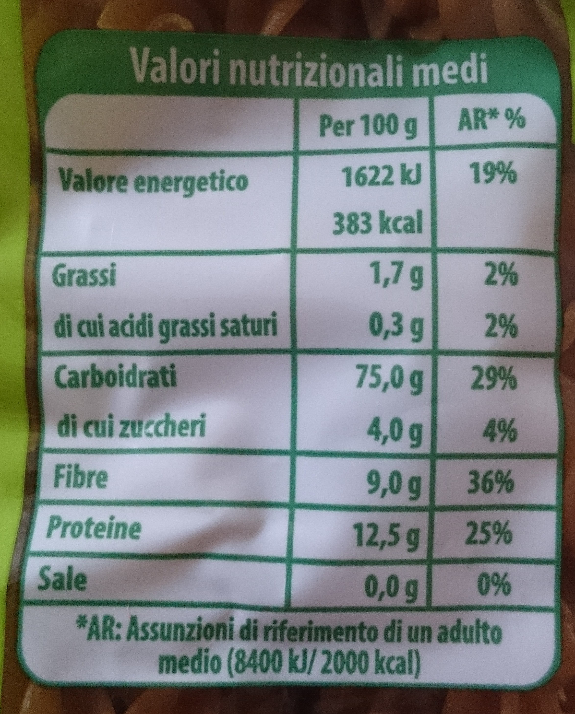 Fusilli integrali biologici - Nutrition facts - it