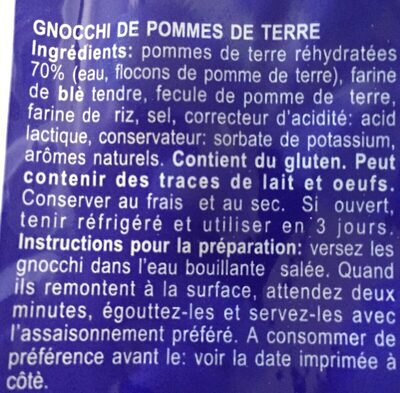 Reggia Gnocchi Di Patate 500G - Ingredients - fr