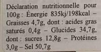 Cubitos Caldo Vegetal - Nutrition facts