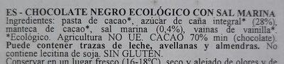 Cioccolato fondente con sale marino - Ingredientes - es