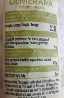 Zucchero di canna demerara - Informations nutritionnelles - en