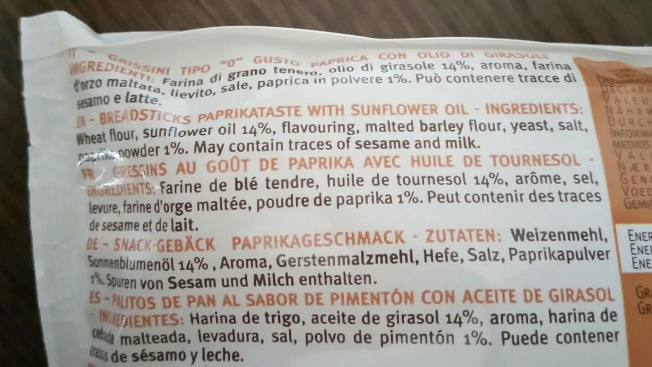 Mini Grissini paprika - Ingredients - fr