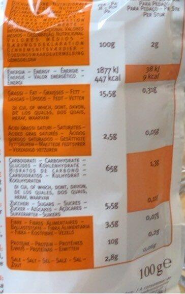 Mini Grissini paprika - Nutrition facts - fr