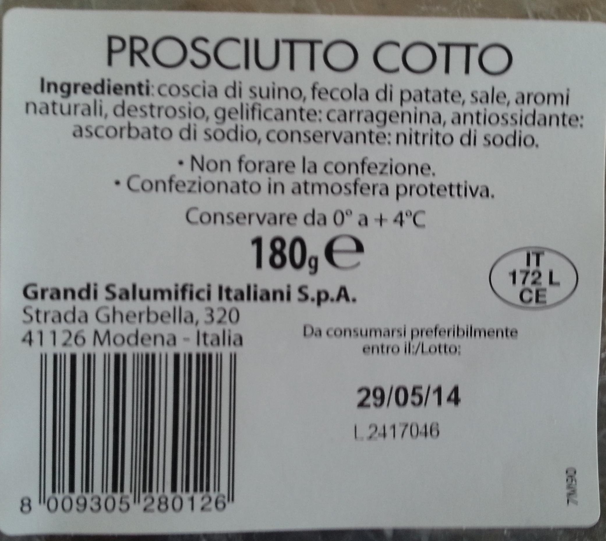 Prosciutto cotto - Product - it