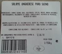 SALAME UNGHERESE PURO SUINO - Product - it