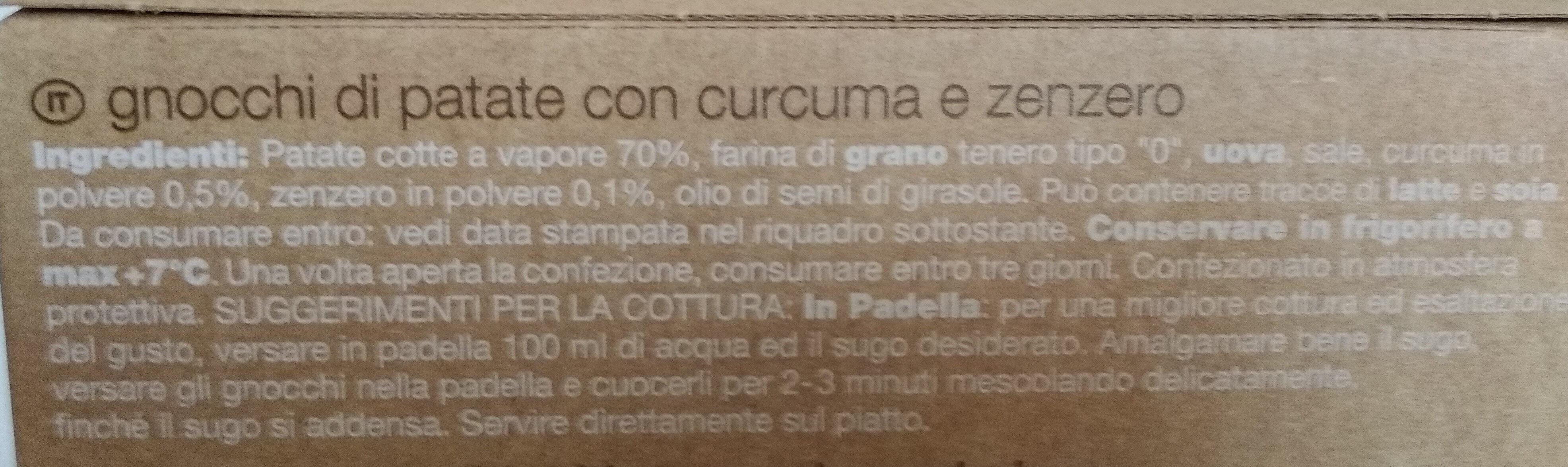 Gnocchi con curcuma e zenzero - Ingredients