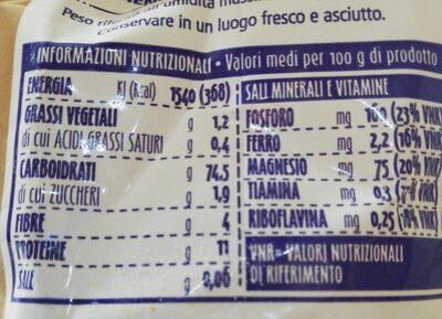 Farina di grano tenero tipo 1 - Informations nutritionnelles - fr