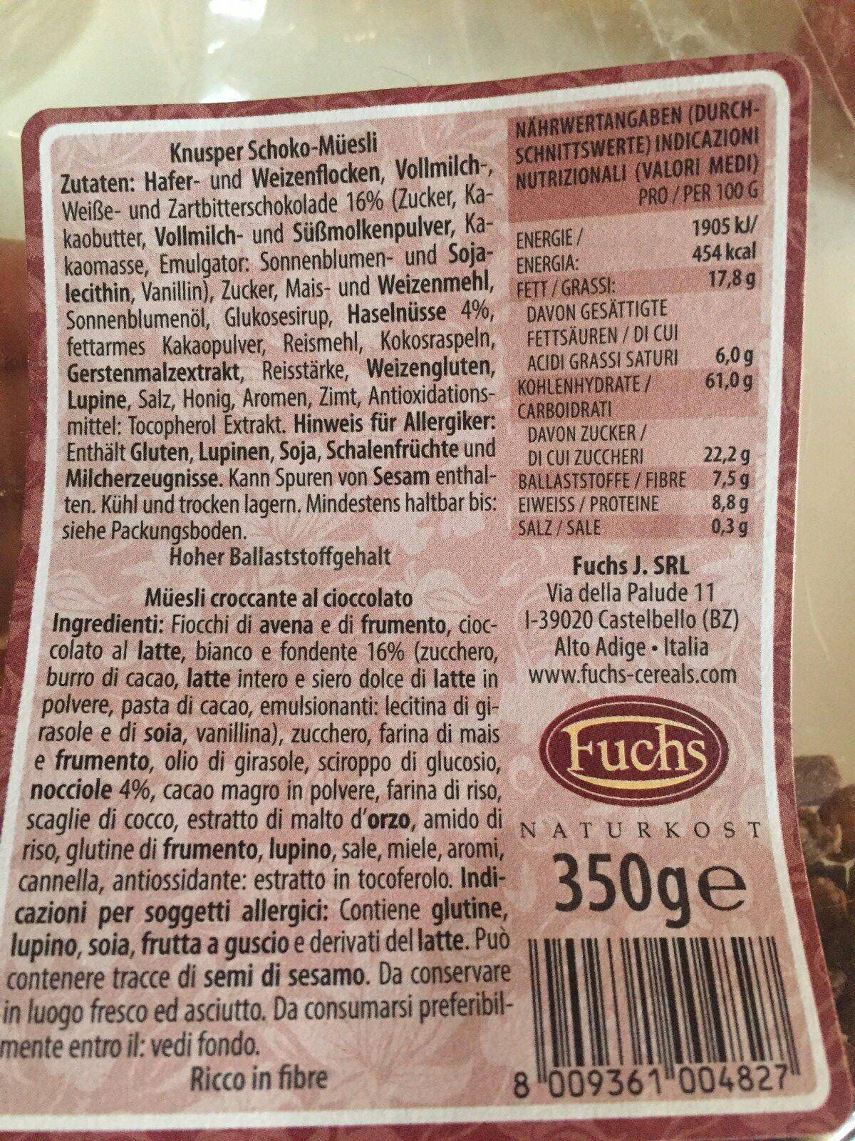 Muesli croccante al cioccolato - Ingrédients - fr