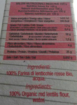 Lenticchie Rosse - Voedingswaarden - fr