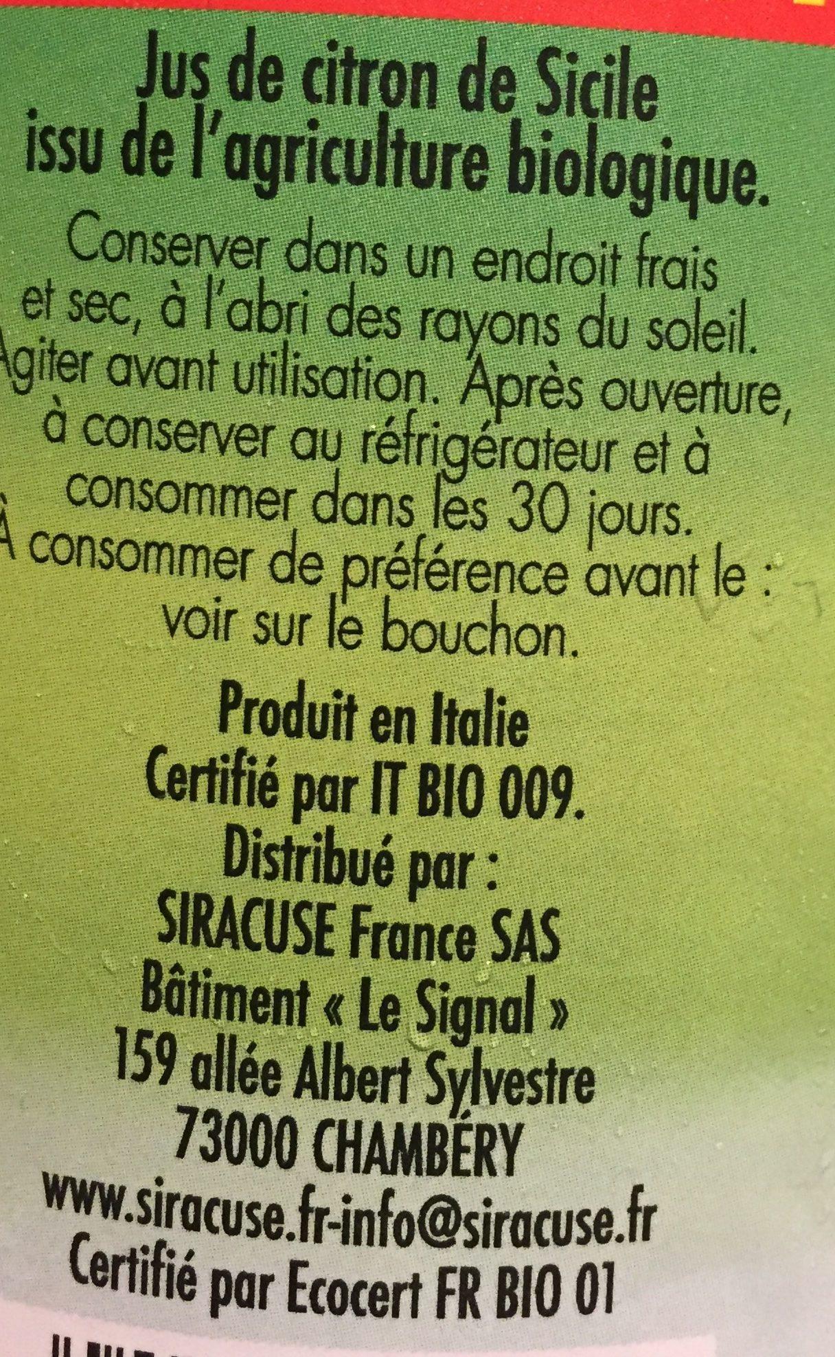Siracuse bio 1 litre - Ingrédients