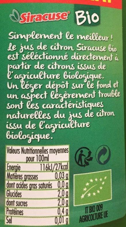 Siracuse bio 1 litre - Informations nutritionnelles