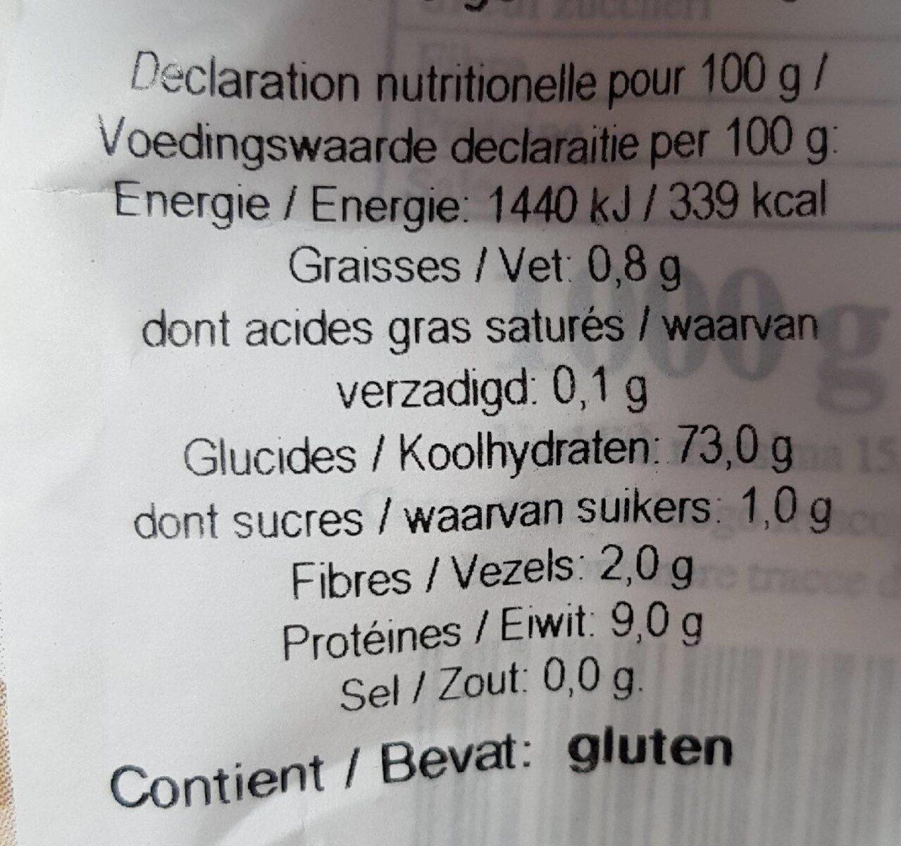 Farine type 00 - Informations nutritionnelles - en