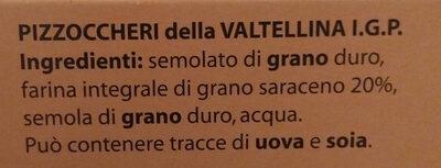 pizzoccheri della Valtellina IGP - Inhaltsstoffe - it