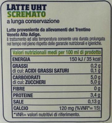 Latte Trento UHT magro - Nutrition facts