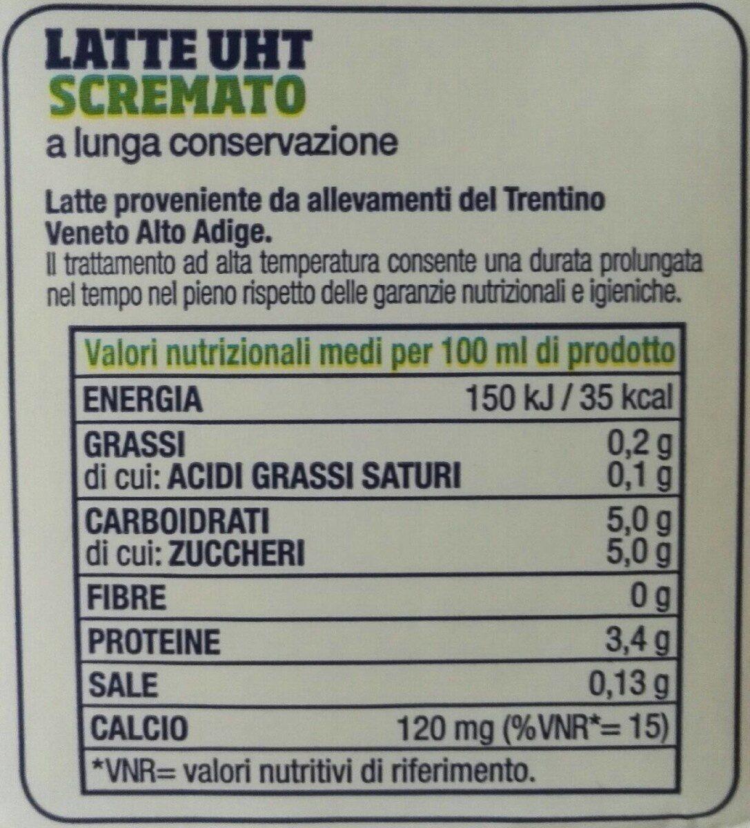 Latte Trento UHT magro - Nutrition facts - en