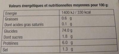 Risotto à la tomate et au basilic riz carnaroli - Informations nutritionnelles - fr