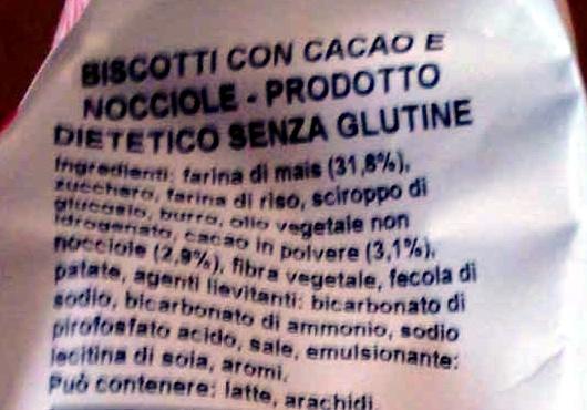 Biscotti Dietetici senza Glutine con Cacao e Nocciole - Ingredienti