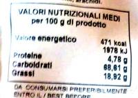 Biscotti Dietetici senza Glutine con Cacao e Nocciole - Informazioni nutrizionali