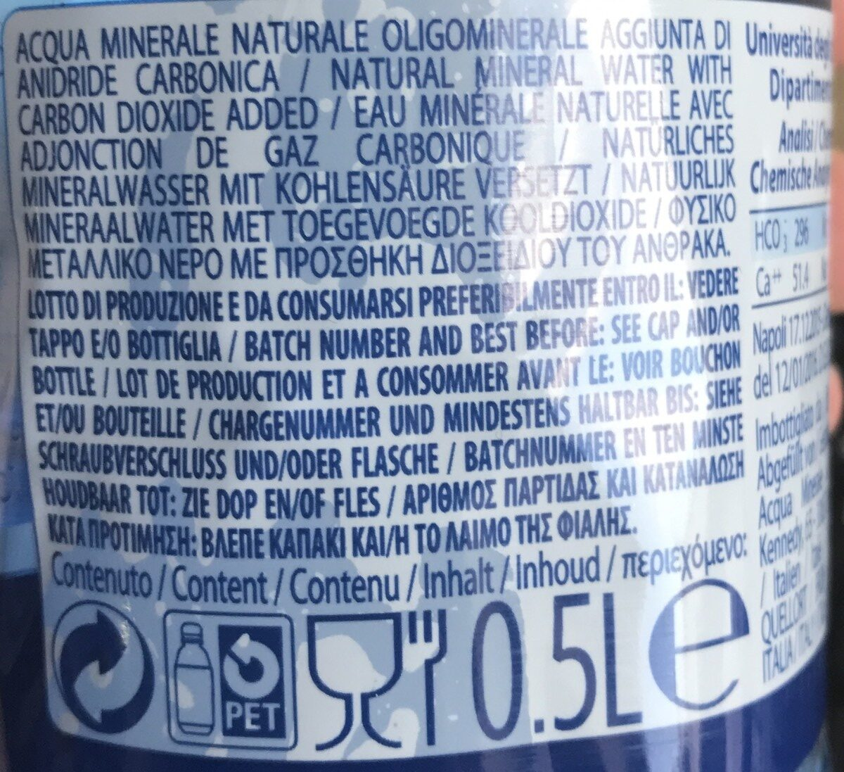 San Benedetto Fizzy Water - Ingredients - fr