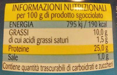 Tonno all'olio di oliva - Informazioni nutrizionali