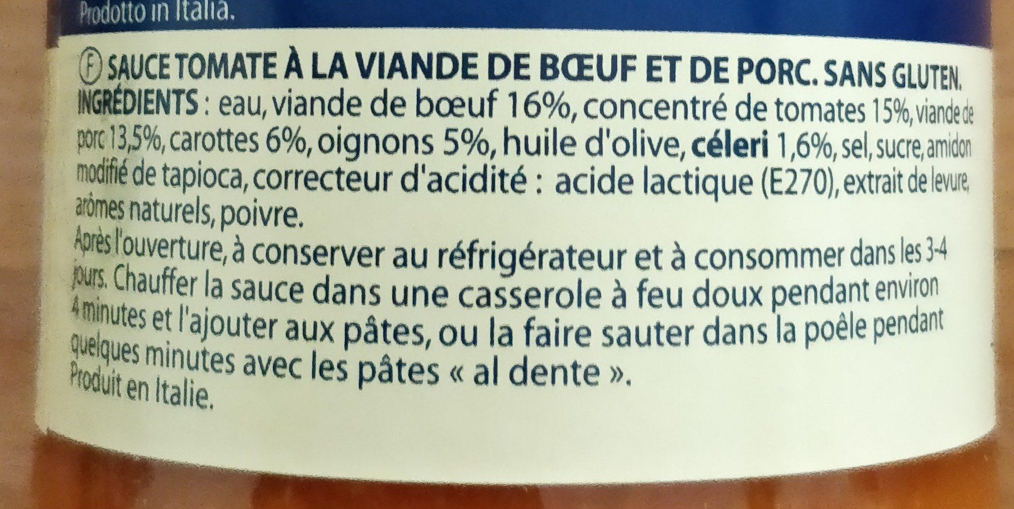 Sauce bolognaise - Ingrédients