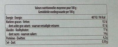 Concentré de tomates - Informazioni nutrizionali - fr