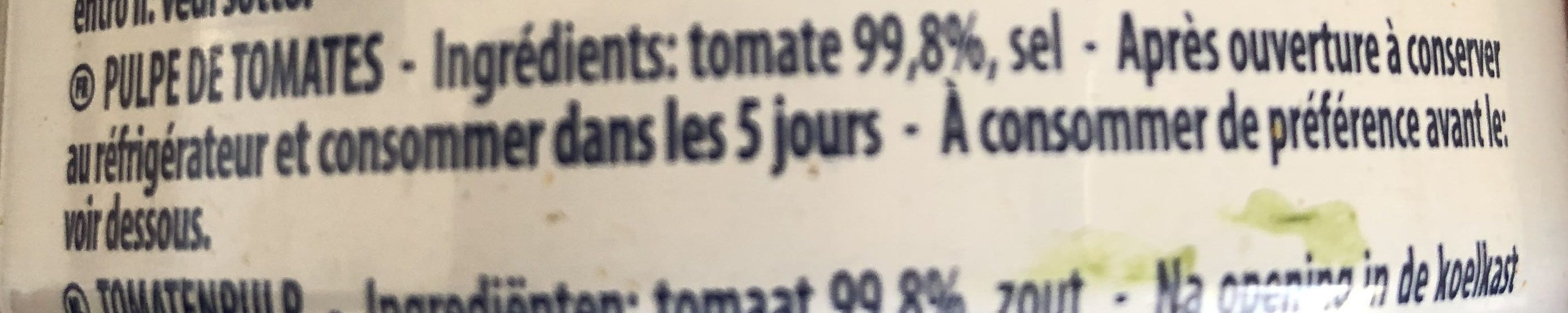 Pulpe fine de tomates - Ingredients - fr