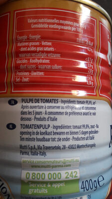 Pulpe fine de tomates - Nutrition facts - fr