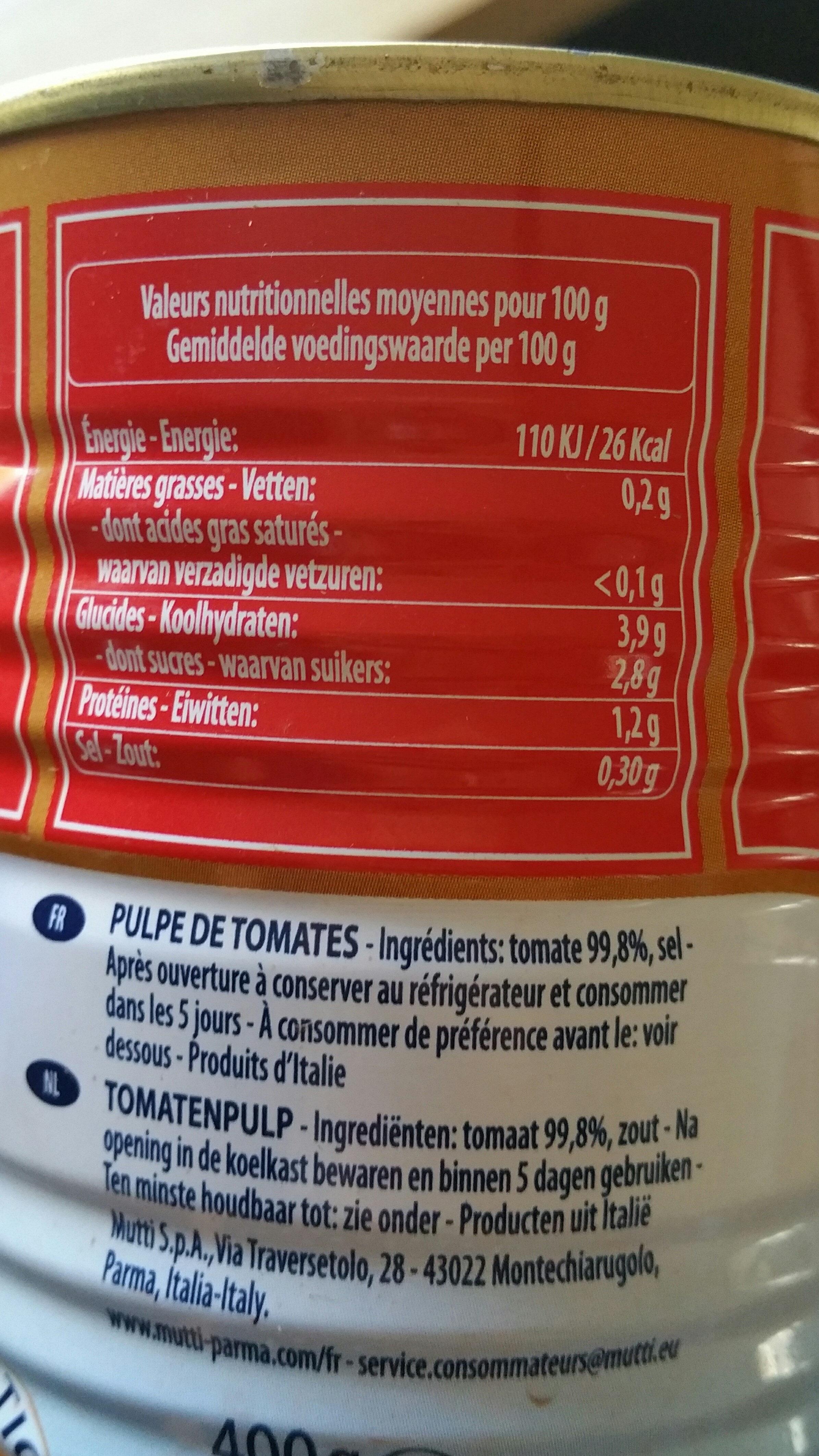 Polpa tomates concassées fines - Voedingswaarden